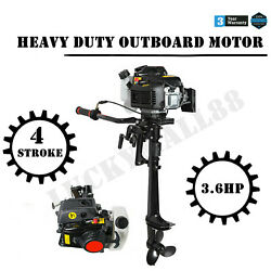 3.6hp 4stroke 55cc Outboard Motor Boat Strong Engine With Air Cooling System New