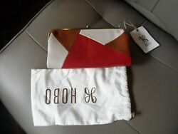 NWT $158 HOBO Lauren Colorblock Leather Wallet in Multi Brown Red Ivory $99.99