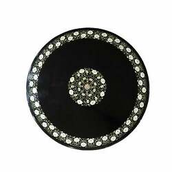 24 Black Marble Coffee Table Top Inlay Floral Pattern For Home Decor Antique L5