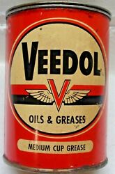Vintage Tidewater Oil Co. Veedol Oil And Greases 1lb Metal Flying V Can Cup Grease