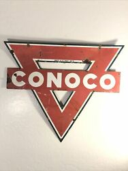 """Vintage Conoco Porcelain Double-sided Service Station Sign 30""""x 25"""" Triangle"""