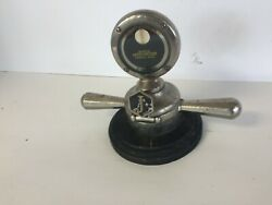 Deluxe Hinged Motometer Hood Ornament With Ornate Display Base And Monogram