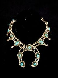 Squash Blossom Necklace Native American Sterling Silver Bisbee Turquoise Pawn