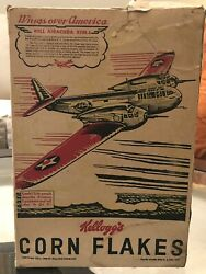 """1939- Ww2 Us """"fighter Bomber"""" In Battle Kellogg's Corn Flakes Cereal Box"""