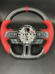 15-19 Ford Mustang  Full Carbon Fiber Steering Wheel Red Leather