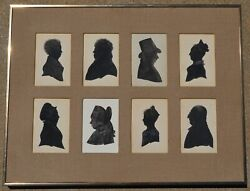 8 Antique Folk Art Silhouette Paintings Watercolor And Ink Black And White