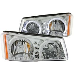 111211 Anzo Headlight Lamp Driver And Passenger Side New For Chevy Avalanche Lh Rh