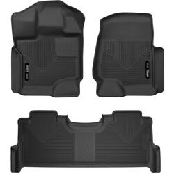 Set-h2153361 Husky Liners Floor Mats Set Of 2 Front New Black For Ford Pair
