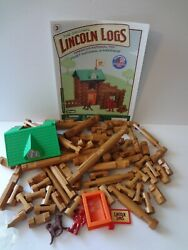 The Original Lincoln Logs Fort Red Pine Lumberjack Dog Flag Complete Lot Clean