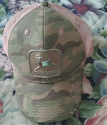 John Deere Pink And Camo Woman's Adjustable One Size Fits All, Ball Cap Hat