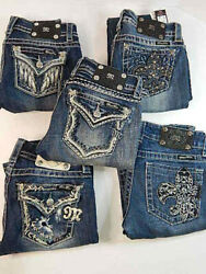 Lot Of Miss Me Jeans Women's Size 26 Preowned Straight Boot Skinny Free Shipping