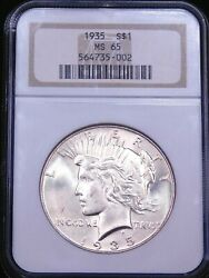 1935 Peace Silver Dollar Ngc Ms65 Original White Superb Luster Pq Beauty G599