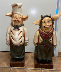 """2 Large Kitchen Resin Pig Statueschef And Wifew/ Wooden Carry Tray25""""t And 22""""t"""