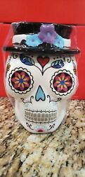 Day Of The Dead Cookie Jar/ Kitchen Canister Sugar Skull White New