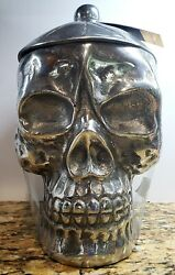 """Halloween Gothic Cookie Jar/canister Heavy Metal Silver Skull 11"""" X 9"""" X 6"""" Nwt"""