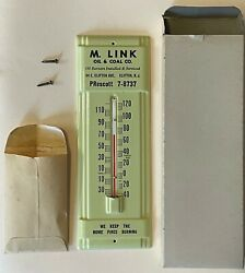Vintage Nos Metal Advertising Wall Thermometer Oil And Coal Company Nj Nib Link