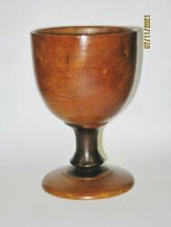 Treenware Early Lignum Vitae Water Wine Wooden Goblet Incised Lines Flared Foot