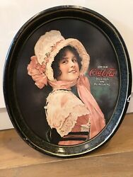 Vintage 1914 Betty Girl Coca Cola Metal Oval Serving Tray 1972 Repro