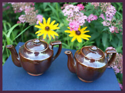 Pair Of Vintage Occupied Japan Matching Small Brown Teapots
