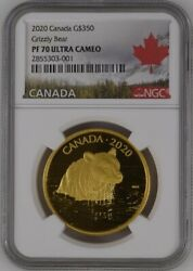 2020 Canada 35g Gold 350 Grizzly Bear Ngc Pf 70 Ultra Cameo Top Pop