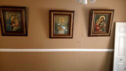 Antique Religious Christianity Prints, Set Of 3, Gilded Wood Frames, 31 X 27