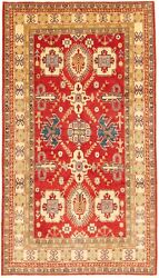 Vintage Geometric Hand-knotted Carpet 6'7 X 11'9 Traditional Wool Area Rug