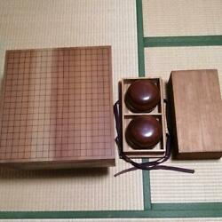 Go Board Table Goban 1pc W/ Go Stones And Cases Japanese Board Game Used Vintage