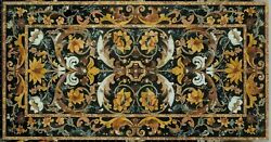 4and039x2and039 Black Marble Table Top Coffee Mosaic Inlay Antique Decor Room Decor K4