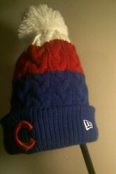New Era Womens Chicago Cubs Winter Hat Thick Knit Embroidered Logos