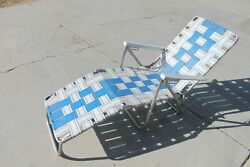 Vintage Aluminum Webbed Chaise Tri-fold Lawn Lounge Chair Blue And White