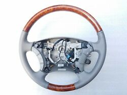 2006 Toyota Sienna Driver Steering Wheel With Wood Inserts Tan Leather Oem