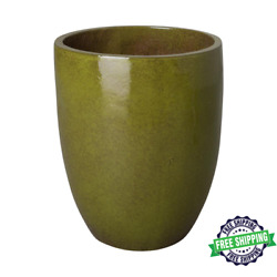 19 In. Dia Tall Round Tropical Green Ceramic Planter