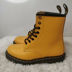 Doc Martens Womens 1460 Mustard Yellow Leather Ankle Combat Boots Size 8 And 9