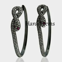 Natural Rosecut Diamond And Ruby Solid 925 Sterling Silver Victorian 2 Pcs Bangle