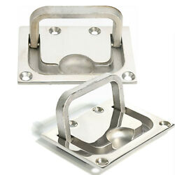 2x 316 Stainless Steel Boat Hatch Square Pull Handle Marine Flush Lifting Handle