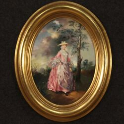 Oval Painting Signed Woman Portrait Framework Oil On Cardboard Antique Style