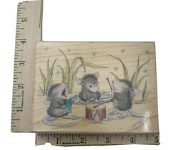 House-mouse Wood Mounted Rubber Stamp Me And My Drum 1991 New
