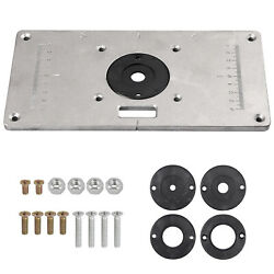 Router Table Insert Plate Aluminum Alloy W/4 Rings Screw For Woodworking Benches