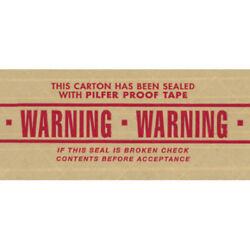 3 X 450' 'warning' Tape Logic® Printed Reinforced Water Activated Tape 100 Pcs