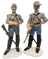 Pair Of Civil War Confederate Soldier Ceramic Figurines, Signed By Artist, 1998