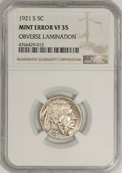 1921-s Buffalo Nickel Ngc Two Feathers Fs-401 Vf35 Obv Lamination Btr9