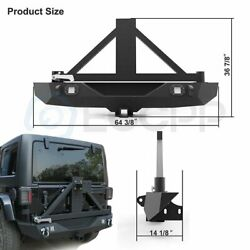 Rear Step Bumper W/ Spare Tire Carrier Mount Rack And Leds For Jeep Wrangler 07-18
