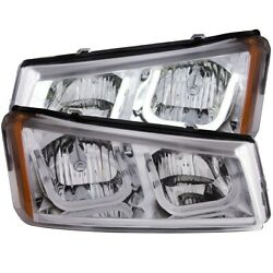 111313 Anzo Headlight Lamp Driver And Passenger Side New For Chevy Avalanche Lh Rh
