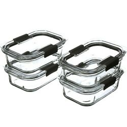 Rubbermaid Brilliance Glass Food Storage Containers, 3.2-cup Food Containers Wit