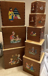 Vintage Set Wooden Toy Children Fairytale Nesting/stacking Boxes Dove Tail