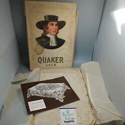 Vintage Quaker Lace Rectangular Tablecloth 72x90gala 4280 In Box With Tag