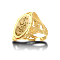 Jewelco London 9ct Gold Curb Links Square St George Ring Half Sov Size
