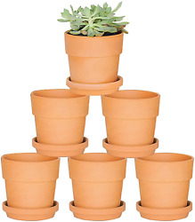 Fengson Terra Cotta Pots With Saucer - 6 Pack 5 Inch Clay Pot Ceramic Pottery