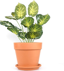 Yishang 12 Inch Clay Pot For Plant With Saucer - 1 Pack Large Terra Cotta Plant