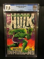 1968 Incredible Hulk King Size Special 1 Cgc 7.5 Annual White Pages Steranko